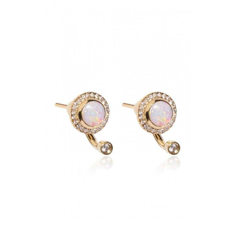 18k Rose Gold Earrings with Natural Diamonds and Opals