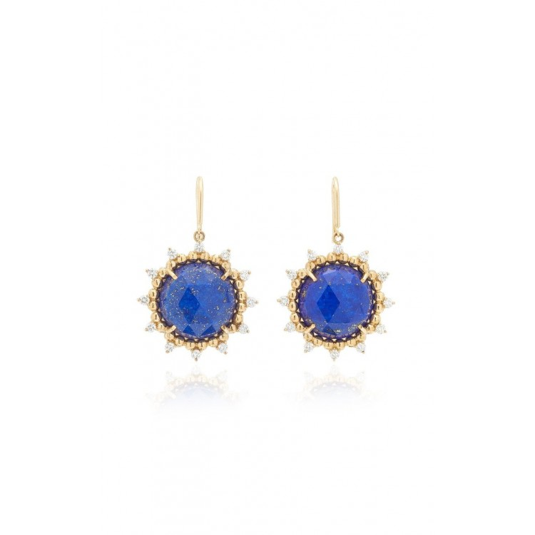 18k Yellow Gold Earrings with Natural Diamonds and Lapis