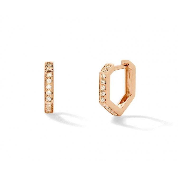 18k Rose Gold Geometric Earrings with Brilliant Cut Natural Diamonds