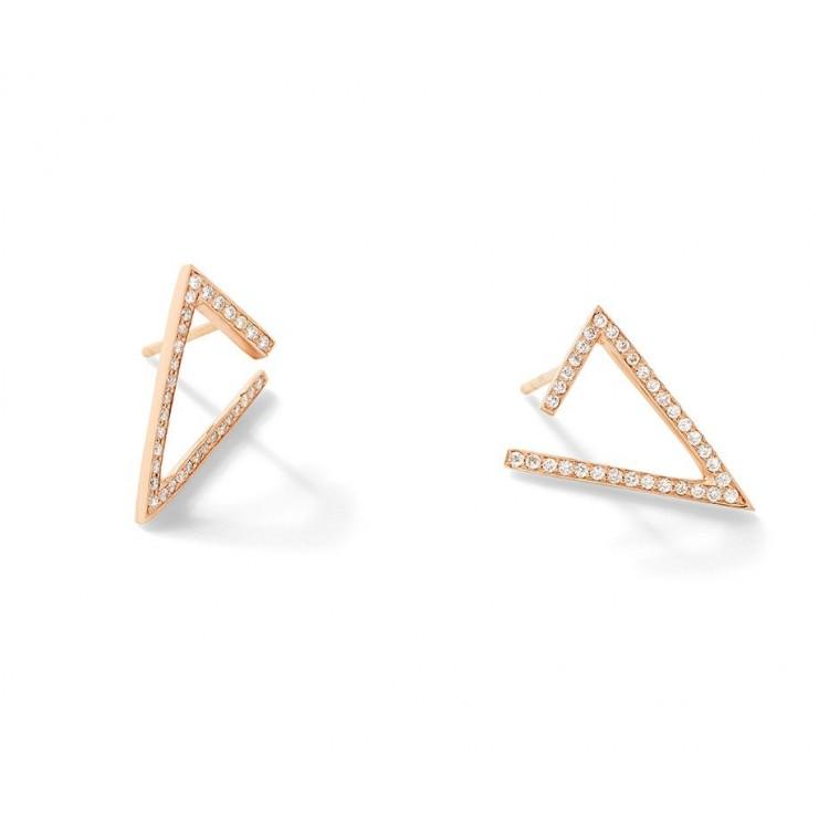 18k Rose Gold Geometric Earrings with Brilliant Cut Natural Diamonds