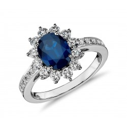 Oval Blue Natural Sapphire and Diamond Engagement Ring in18k White Gold