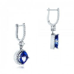 18k White Gold Earrings with Tanzanites and Diamonds