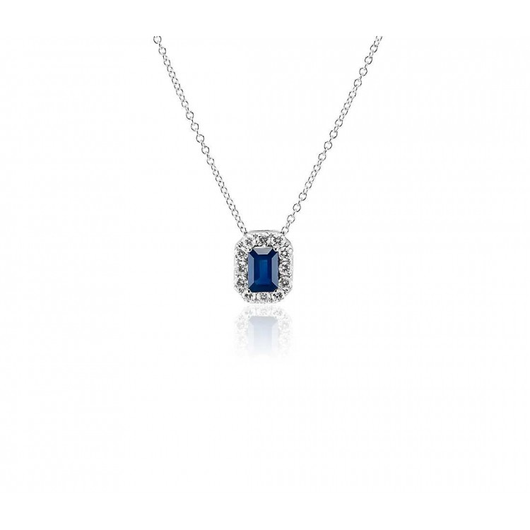 Beautiful Necklace with Natural Blue Sapphire and Diamond in 18k White Gold