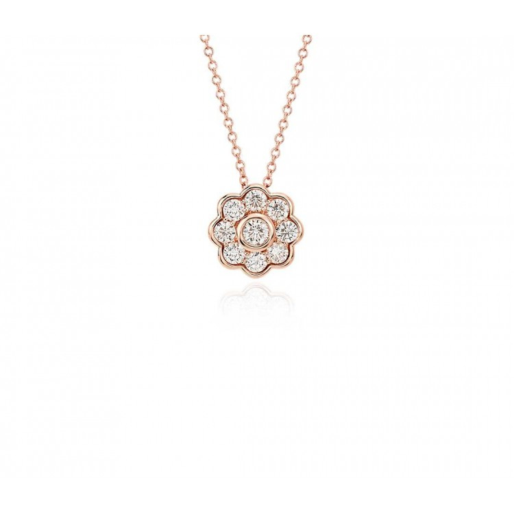 Beautiful Necklace with Natural Diamonds in 18k Rose  Gold