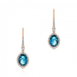 18k Rose Gold Earrings with Natural Diamonds and London blue Topaz