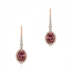 18k Rose Gold Earrings with Natural Diamonds and Tourmaline