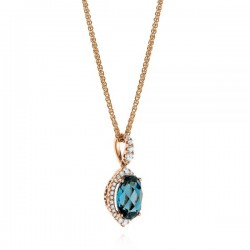 18k Rose Gold Necklace with Natural Diamonds and London blue Topaz