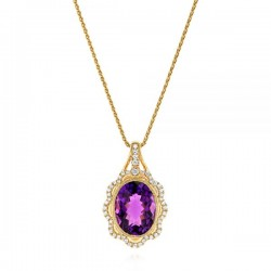 18k Rose Gold Necklace with Natural Diamonds and Amethyst