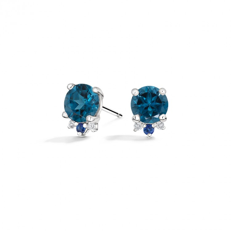 18k White Gold Earrings with Natural London Blue Topaz, Blue Sapphire and Diamonds