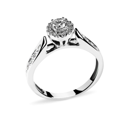 14k White Gold Engagement Ring with Natural Diamonds