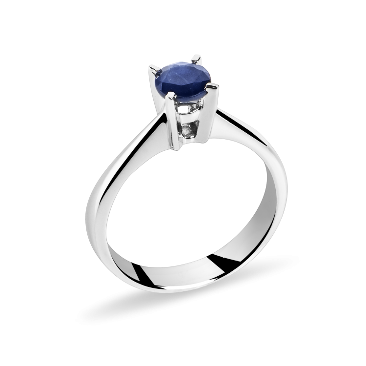 18k White Gold Engagement Ring with Natural Blue Sapphire