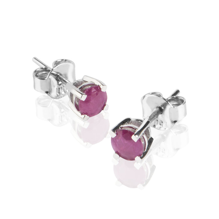 18k White Gold Earrings with Natural Rubies