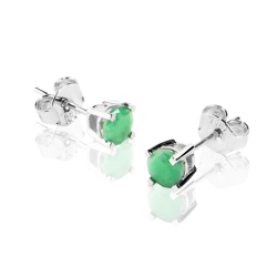 18k White Gold Earrings with Natural Emeralds