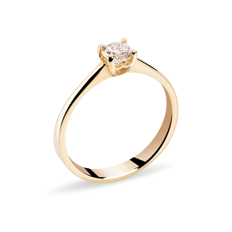 18 k Yellow Gold Engagement Ring with Natural Diamond