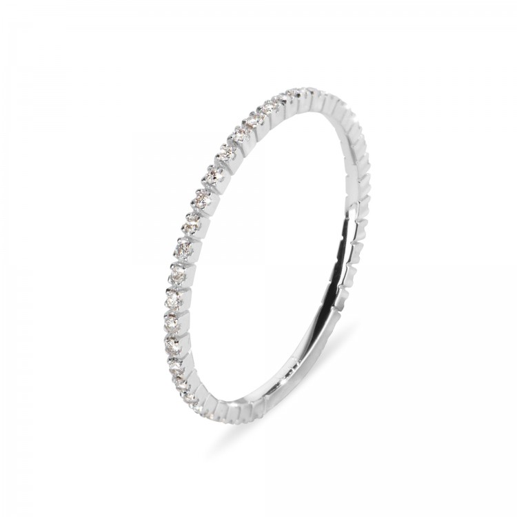 18k White Gold Engagement Ring with Natural Diamonds