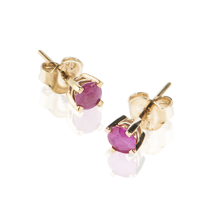 18k Yellow Gold Earrings with Natural Rubies