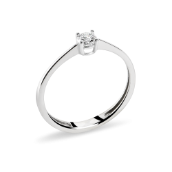 18 k White Gold Engagement Ring with Natural Diamond
